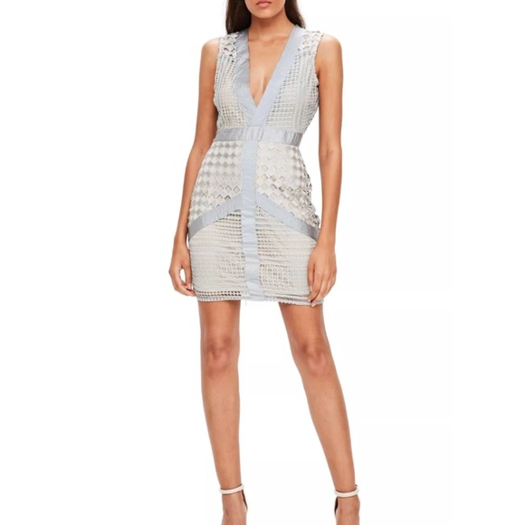 Lace Ruffle Plunge Dress - Blue Missguided Free Shipping Visit New Shop Cheap Online Cheap Sale Sale Discount Cheap Price Clearance Prices SHiIcL7U6